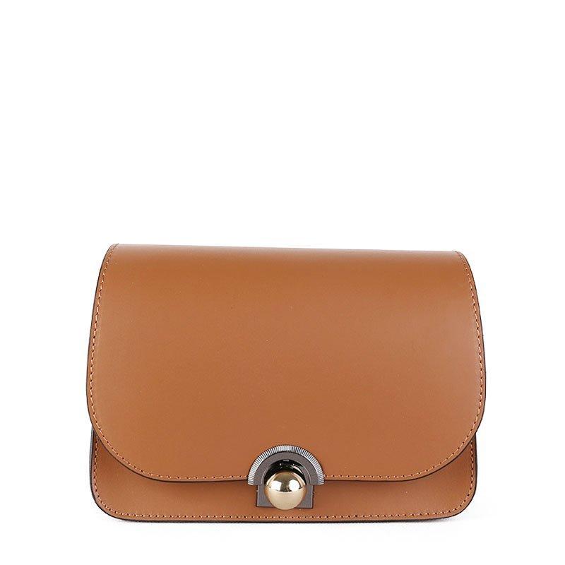 ITALSKÉ Kožená kabelka luxusní crossbody Italská hnědá Elisa