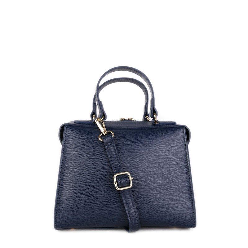 ITALSKÉ Kožená kabelka luxusní crossbody Italská modrá Trimea