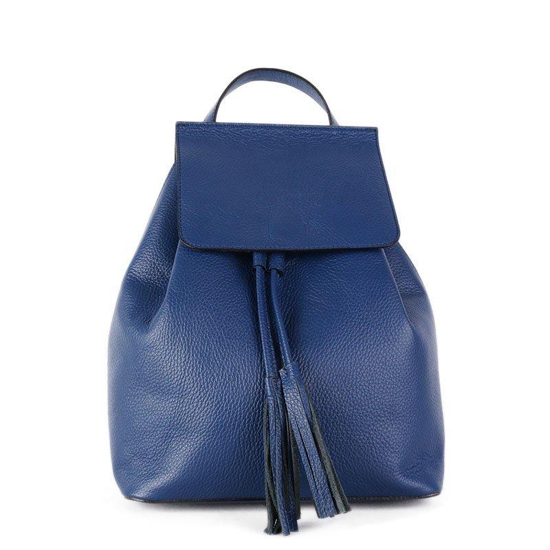Vera Pelle Kožený batoh do školy modrý Mauricio 12l