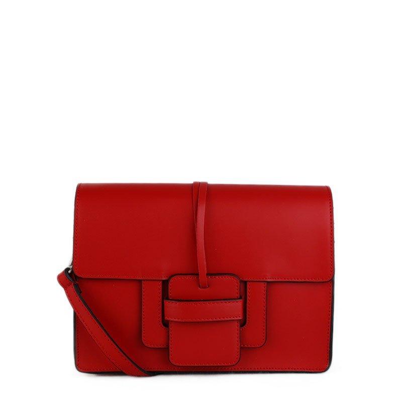 ITALSKÉ Kožená kabelka střední Italská červená Chiara