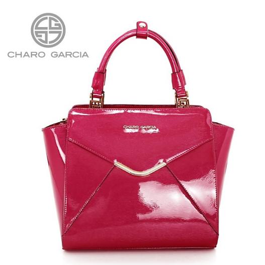 Trendová značková kožená kabelka Charo Garcia růžová 8836