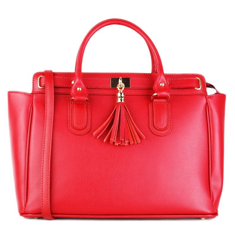 ITALSKÉ Velká kožená kabelka pro business Italská červená Ludovica