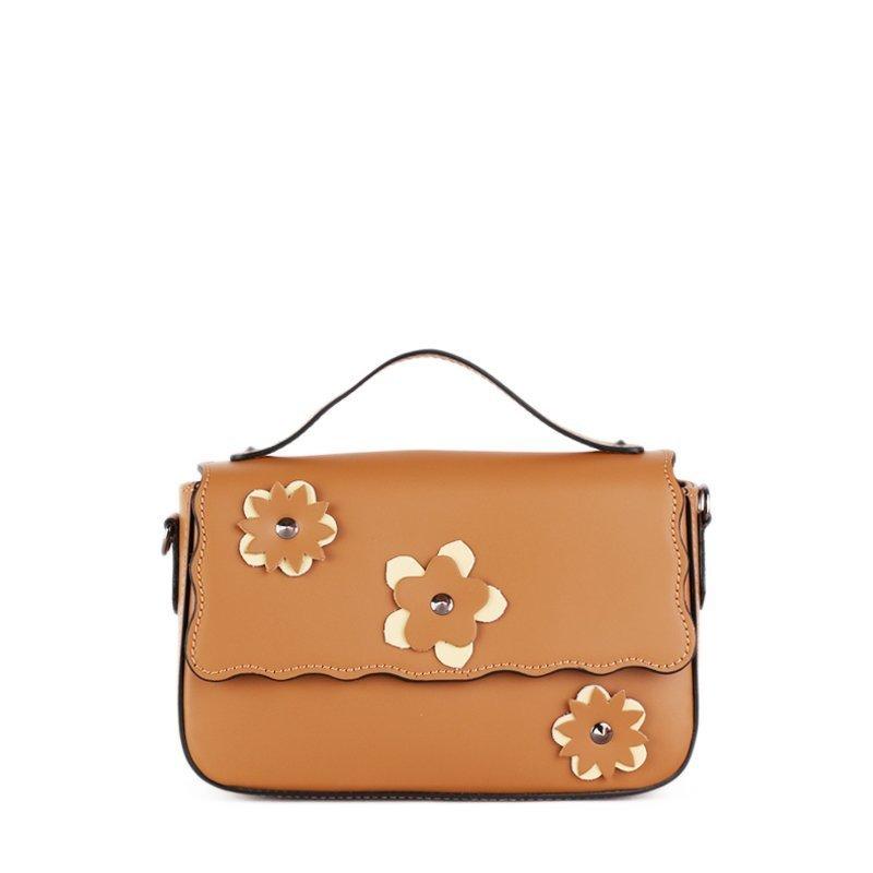 ITALSKÉ Trendová kožená kabelka Vera Pelle z Itálie hnědožlutá Bibiana