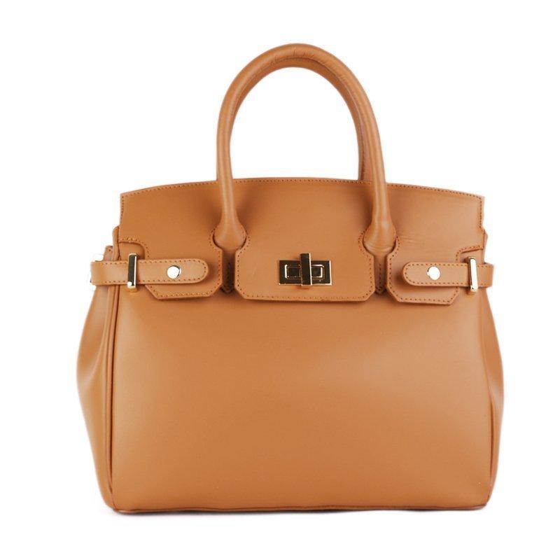 ITALSKÉ Kožená luxusní kabelka do ruky z Itálie camel Kateřina