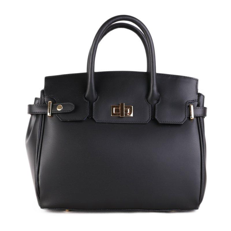 ITALSKÉ Kožená luxusní kabelka do ruky Vera Pelle z Itálie černá Kateřina