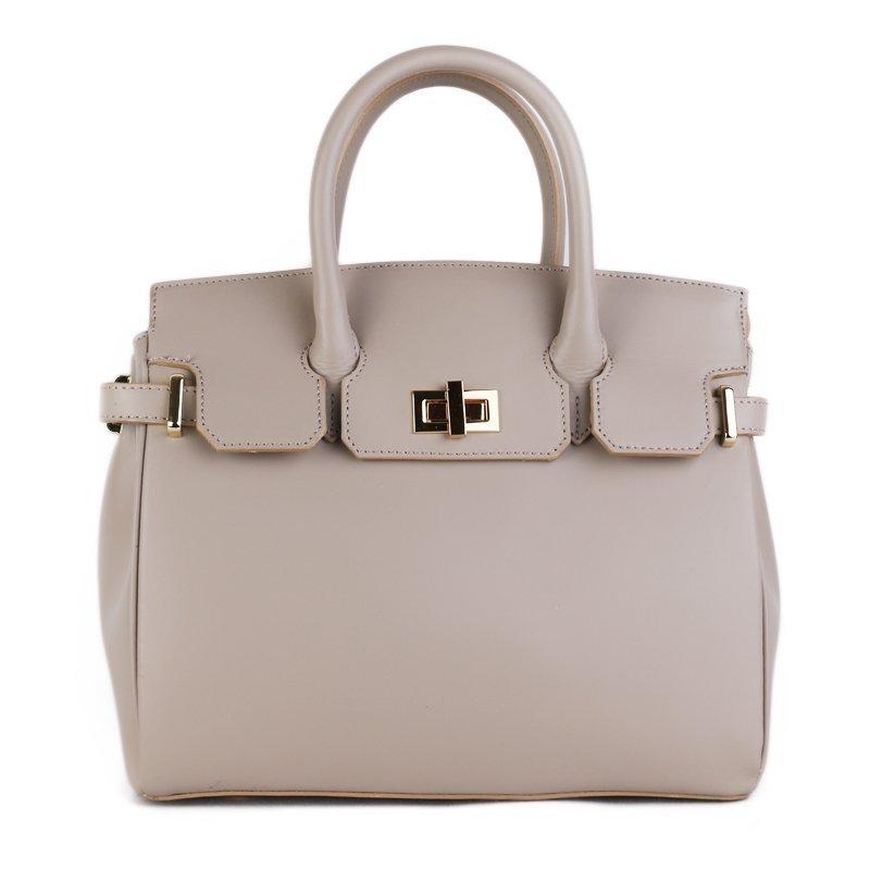 ITALSKÉ Kožená luxusní kabelka do ruky z Itálie šedá Kateřina