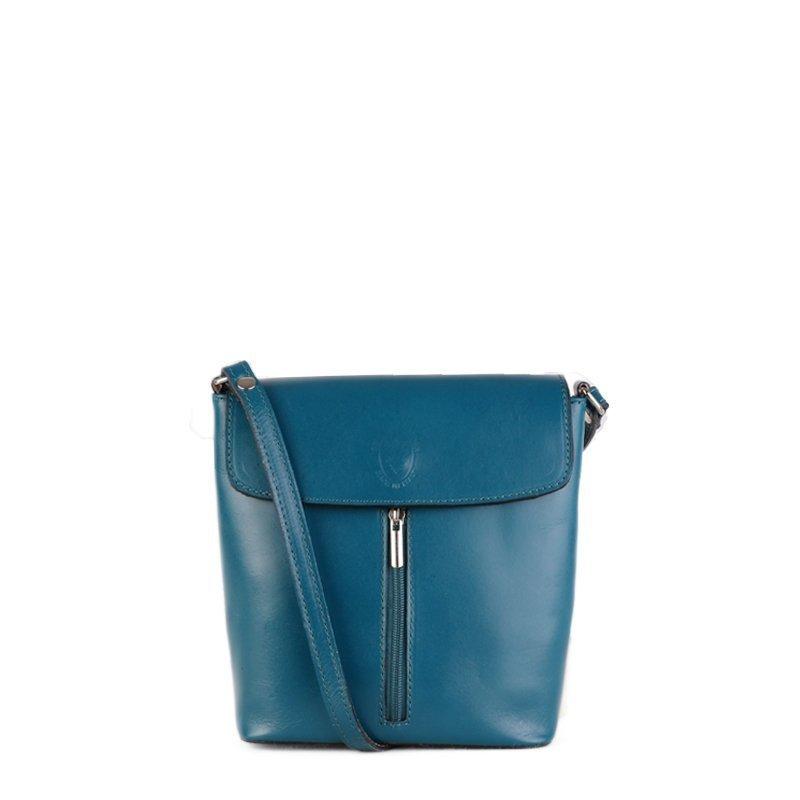 ITALSKÉ Kožená malá Italská kabelka crossbody Ddorota modrá