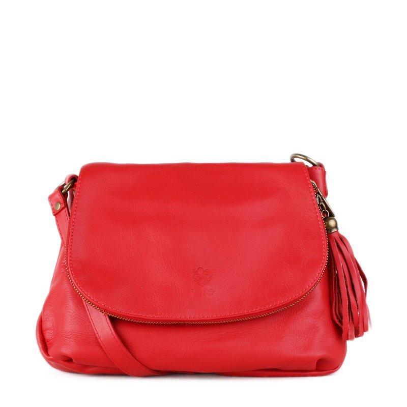 ITALSKÉ Trendová kožená kabelka crossbody z Itálie červená Angela