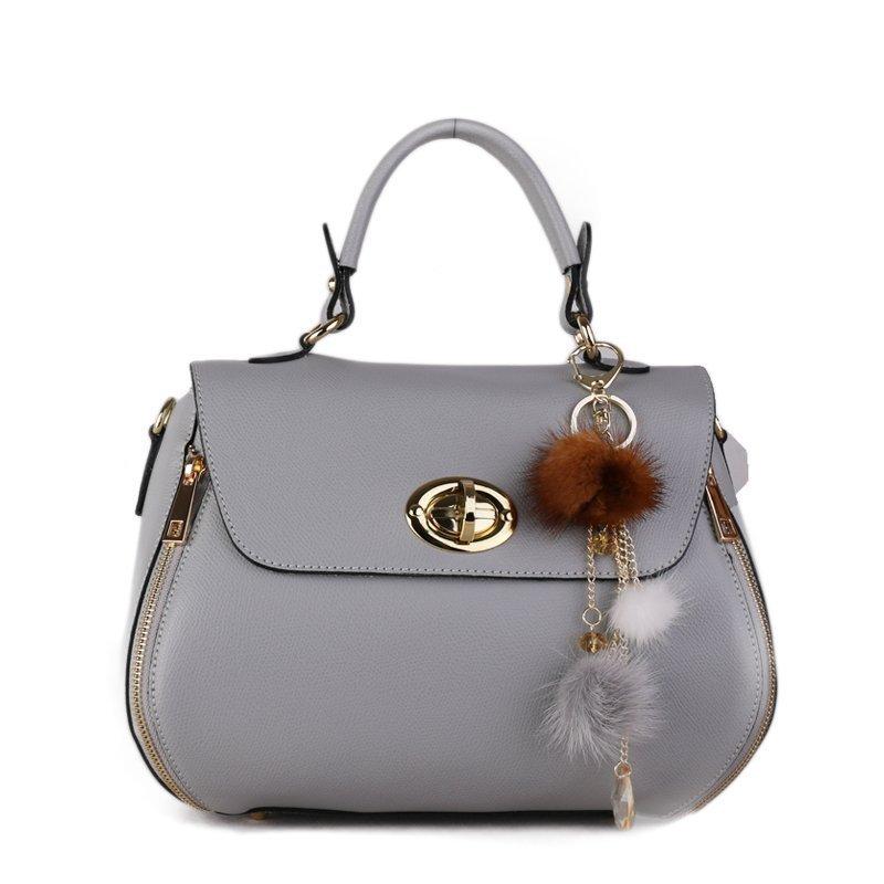 ITALSKÉ Luxusní kožená kabelka do ruky z Itálie šedomodrá Maria