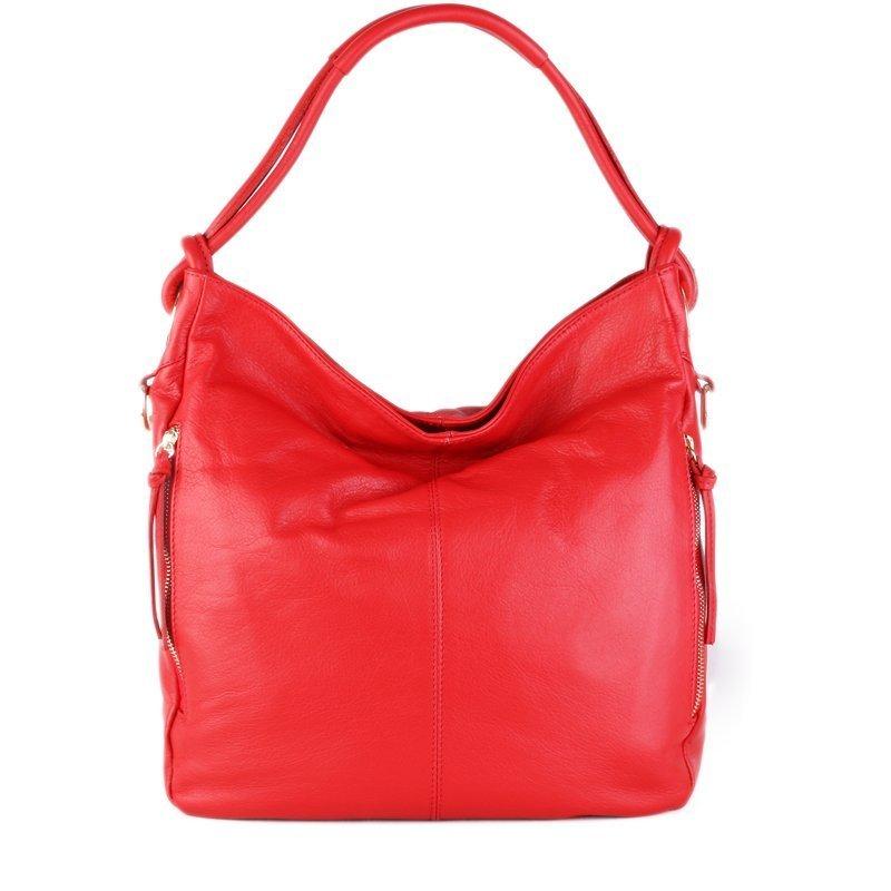 ITALSKÉ Kožená kabelka Italská červená Salvare