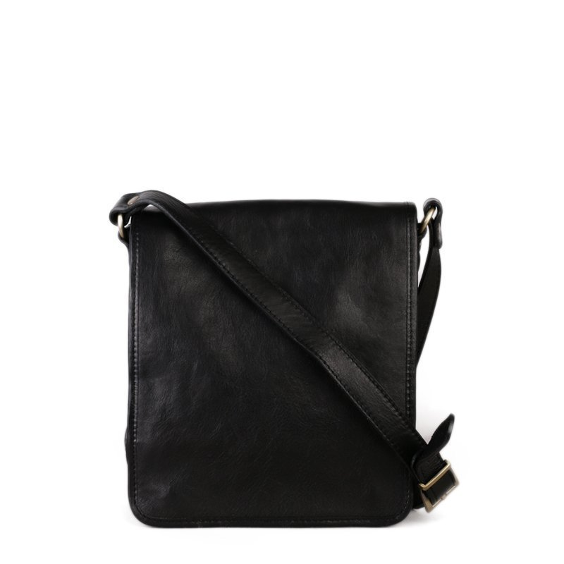 ITALSKÉ Černá kožená taška crossbody Vera Pelle Salve