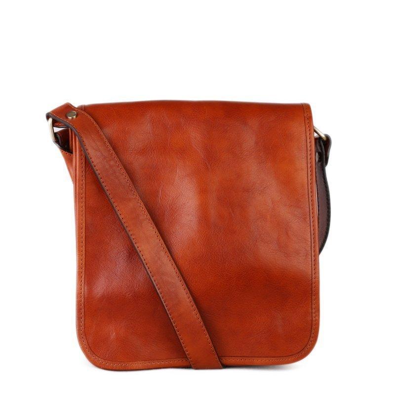 ITALSKÉ Pánská hnědá kožená taška přes rameno Vera Pelle Sempre