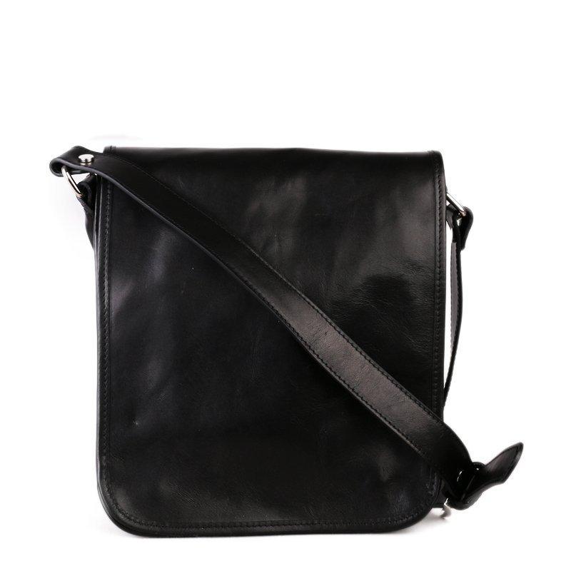 ITALSKÉ Pánská černá kožená taška crossbody Vera Pelle Sempre