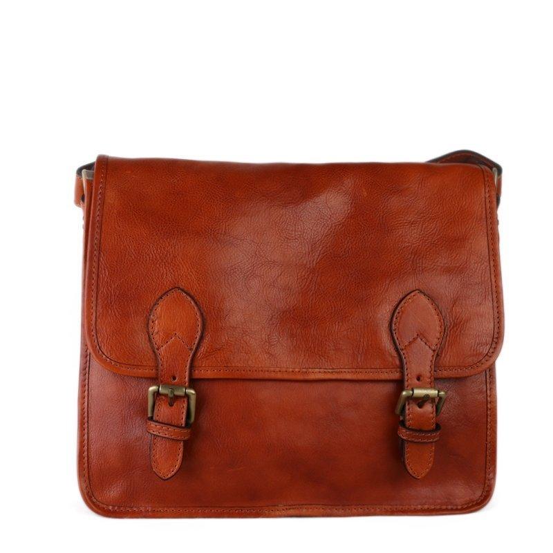ITALSKÉ Pánská hnědá kožená taška přes rameno Vera Pelle z Itálie Romek