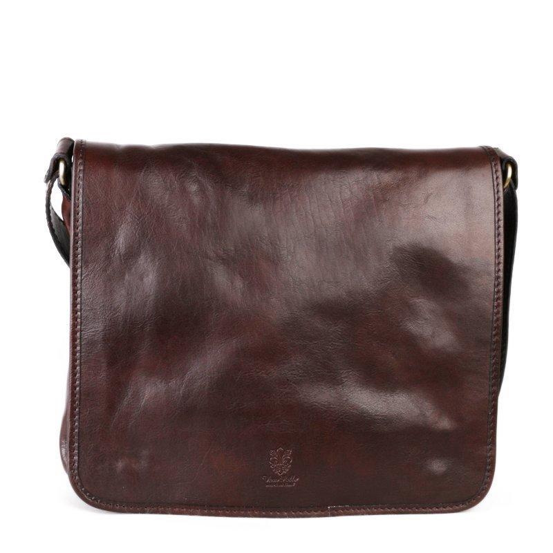 ITALSKÉ Pánská hnědá kožená taška přes rameno Vera Pelle Calipo čokoládová
