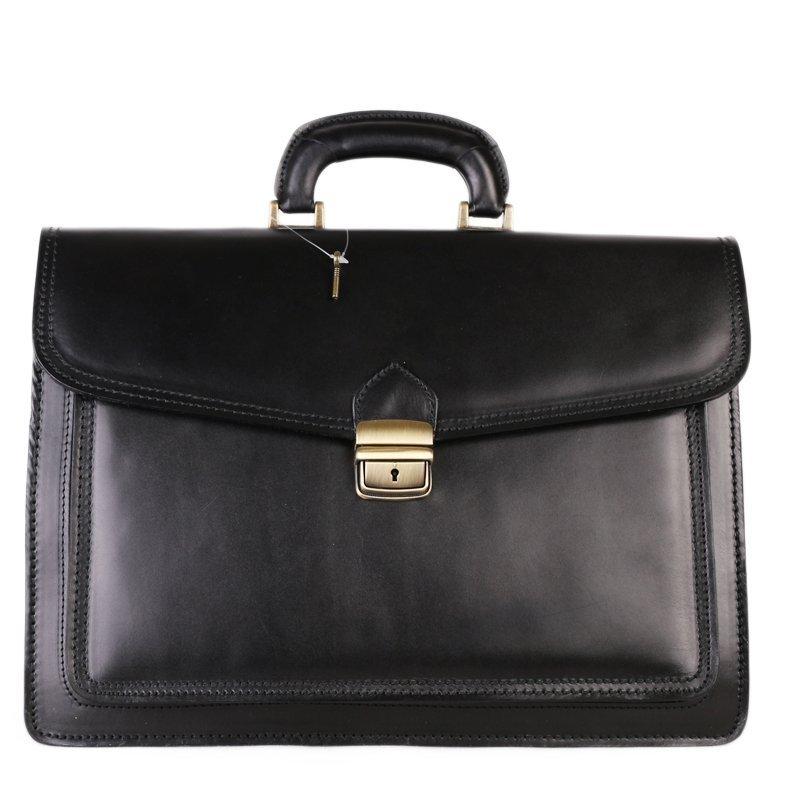 ITALSKÉ Pánská černá kožená kabelka do ruky Vera Pelle Felis