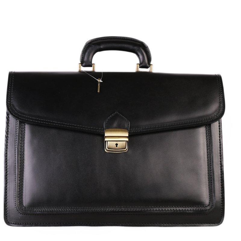 ITALSKÉ Pánská černá prostorná kožená kabelka do ruky Vera Pelle Valentino