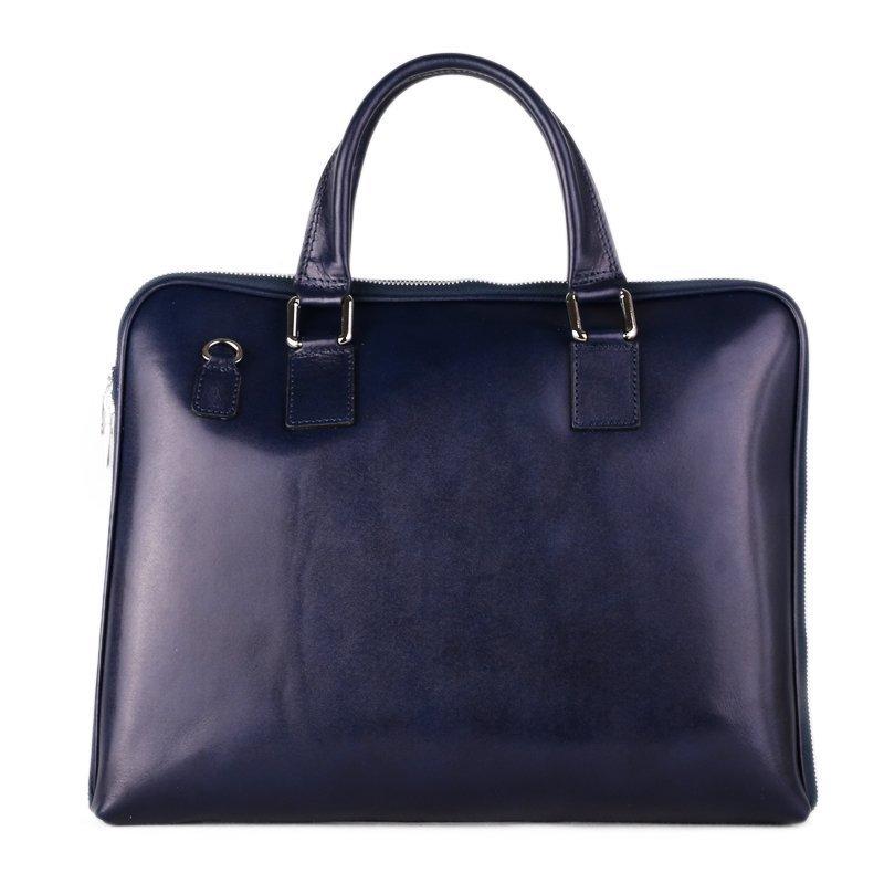 Kožené business kabelky do ruky Italské modré Cloe