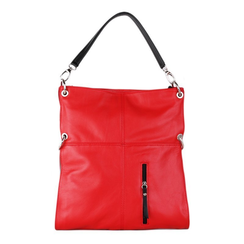 Kožené kabelky přes rameno Italské Fulvia červenočerné