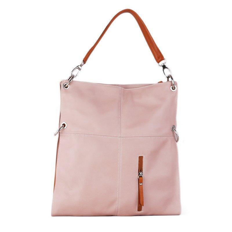 Kožené kabelky přes rameno Italské Fulvia růžové