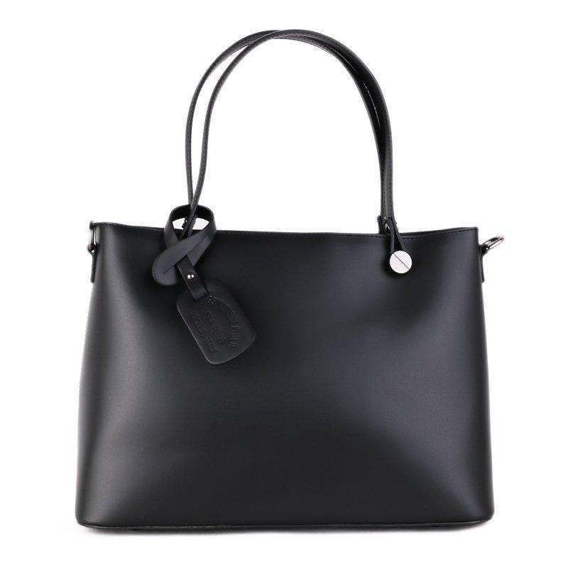 ITALSKÉ Italská černá luxusní kožená kabelky Marita velká