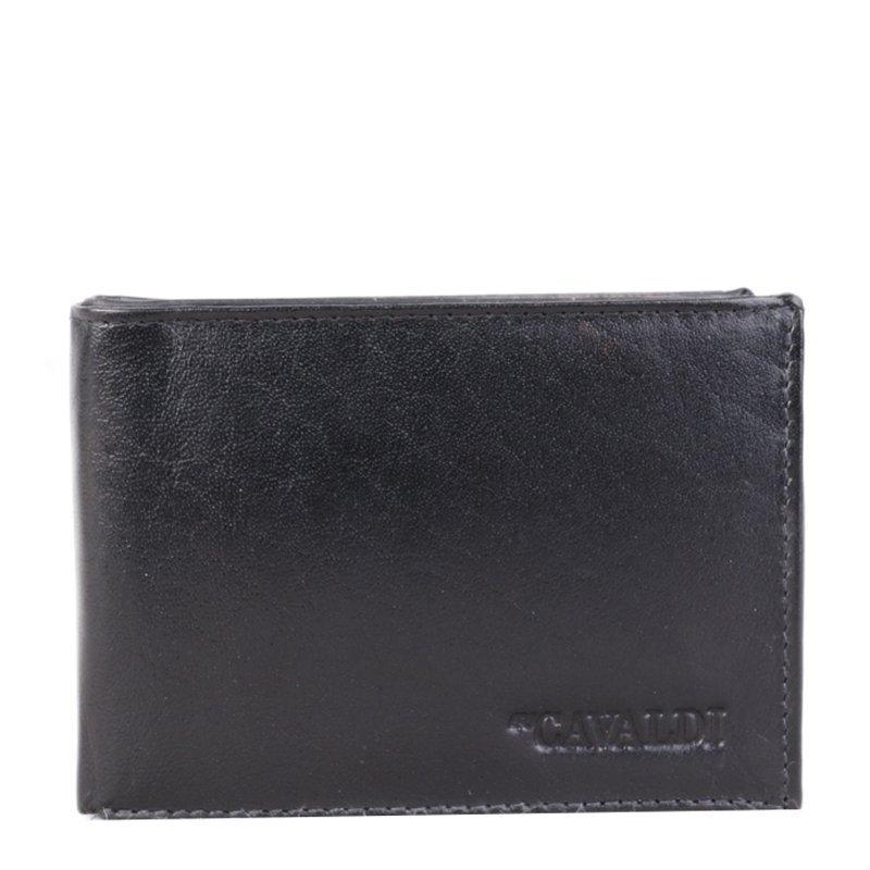 CAVALDI Levná kožená peněženka černá 80670BS Black
