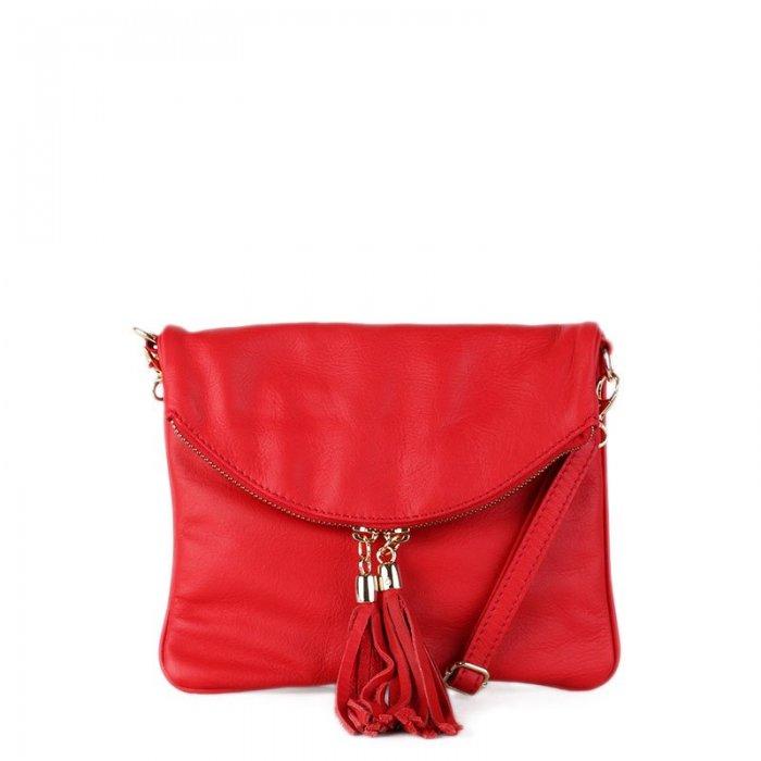 Kožená kabelka malá crossbody Italská červená Korzika přední strana f06a1735ab7