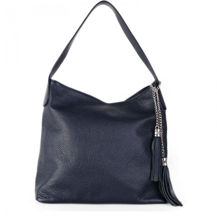 Kožená kabelka přes rameno Italská modrá Fabiola přední strana 8ff8cea906