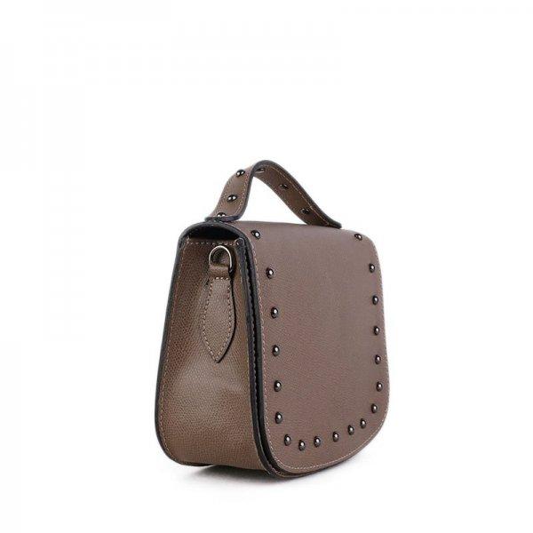 Malá kožená kabelka Italská hnědá Lina boční strana 25520b9ff85