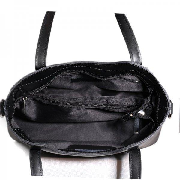 0c918f7307 Kožená kabelka Vera Pelle luxusní Italská černá Carina střední vnítřek