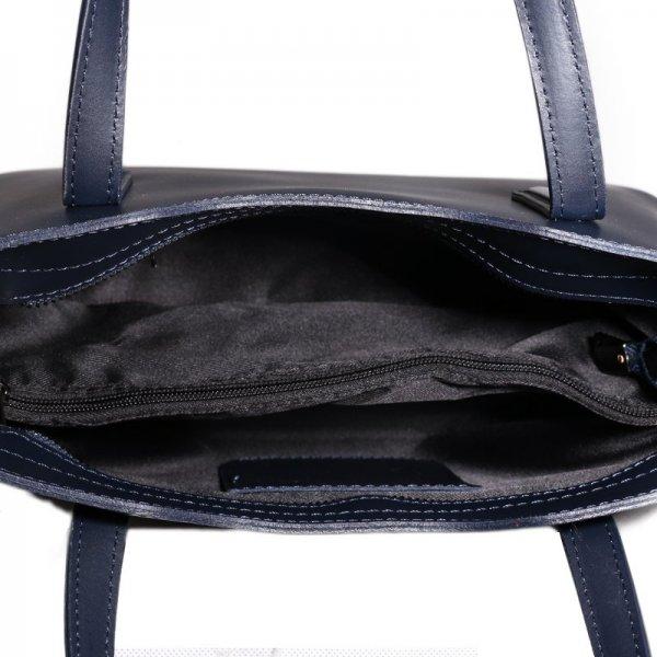 4393148b10 Kožená kabelka Vera Pelle Italská modrá Carina velká vnítřek