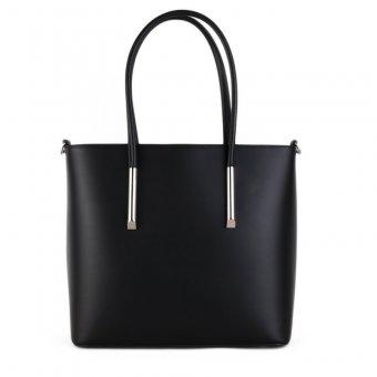 Prostorná kožená kabelka přes rameno z Itálie černá Rosina přední strana  Doprava zdarma. ITALSKÉ 83ace5d10e9