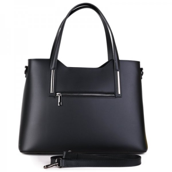 Moderní kožené kabelky do ruky z Itálie v černé barvě Carina 008b42bbce