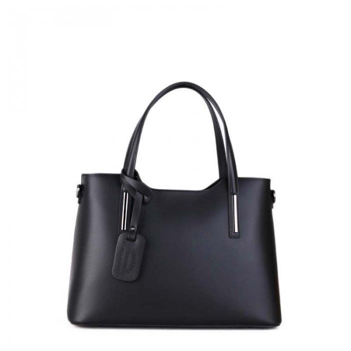 2f5180ce66 ... Vera Pelle luxusní Italská černá Carina střední. Luxusní hezká kožená  kabelka do ruky Carina černá střední