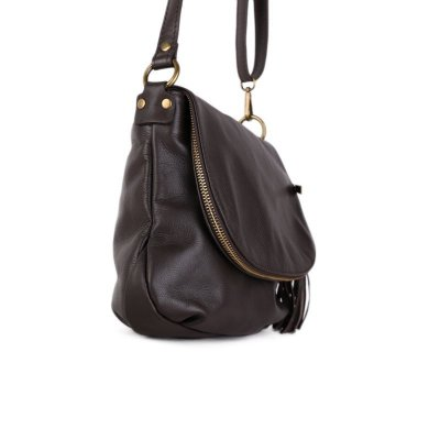 Luxusní trendové kožené kabelky crossbody Angela čokoládové  f1f90ac43df