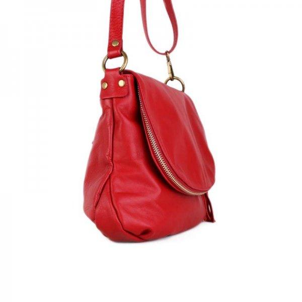 Trendová kožená kabelka crossbody z Itálie červená Angela  91784a9cb3d