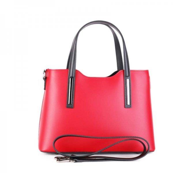 Vera Pelle luxusní kožené kabelky do ruky Carina červeno černá střední 95e9b01569c