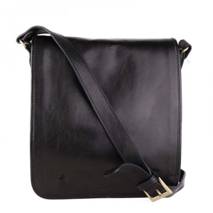 Luxusní klasické pánské kožené tašky přes rameno černé Chulio Doprava  zdarma. ITALSKÉ db2340143c7