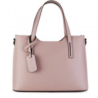 a2b233e0c56 Levné kožené kabelky na rameno z Itálie Carina velká púdrovo růžová
