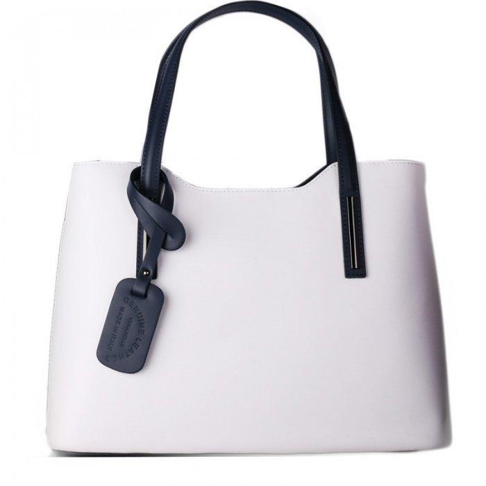 927d99cffd Kožené trendové kabelky na rameno Carina velká bíla s modrou