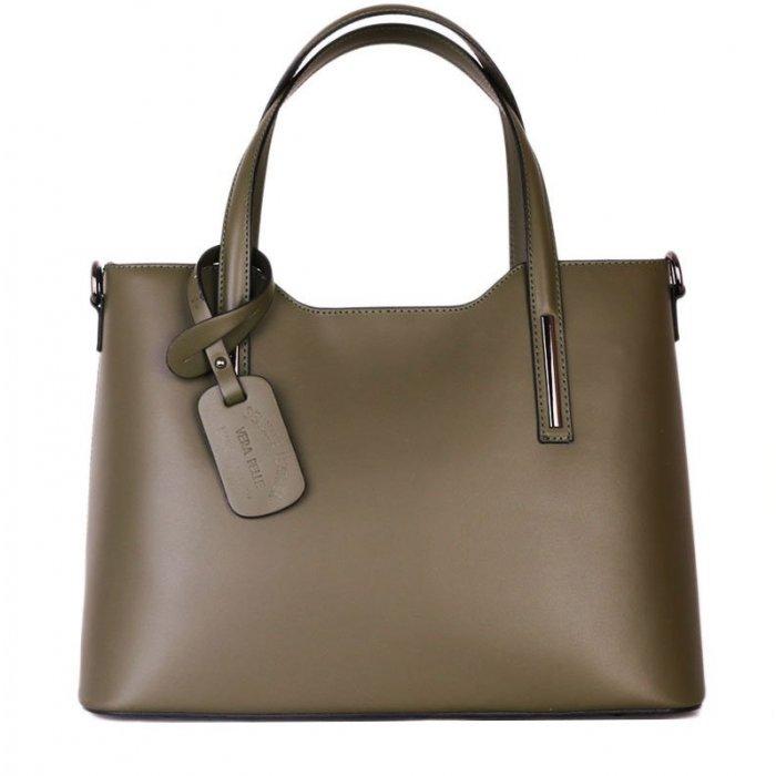 4e61aef6eb9 Luxusní Italské kožené kabelky Carina zelené velké