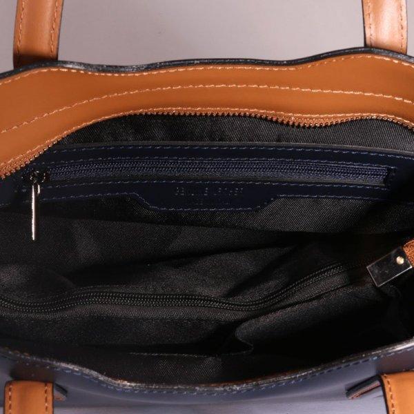 39dec9968 Kožené kabelky aj pro starší dámy carina modrá s hnědou velká