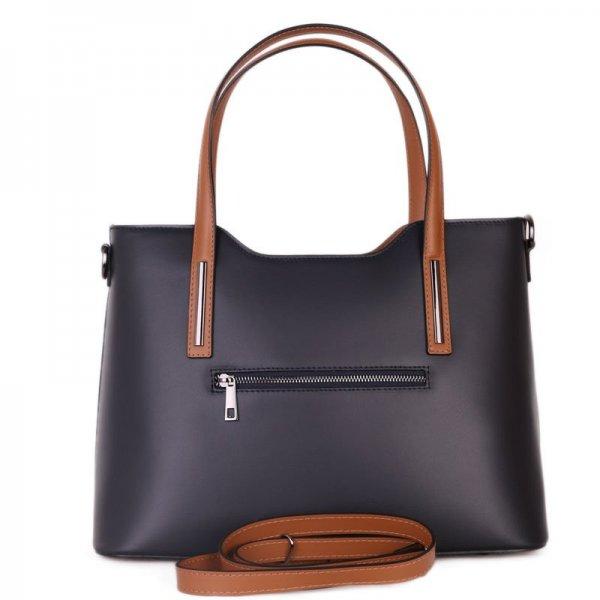 Moderní kožené kabelky pro dámy carina modrá s hnědou velká b4d967738d5