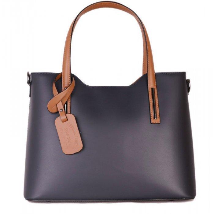 Luxuní kožené kabelky z pravé kůže Carina modrá s hnědou velká 01319f068e9