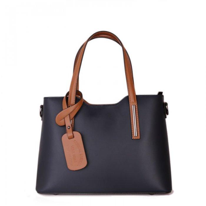 Luxusní modré kožené kabelky z Itálie Vera Pelle carina · tmavemodré kožené  kabelky střední Carina s hnědou 861b0da0b62
