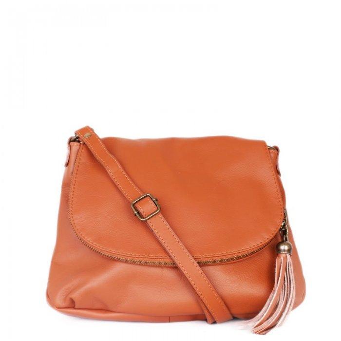 ... Hnědé Italské kožené kabelky crossbody Angela camel. sportovní hnědé  kožené kabelky angela e1a89023442