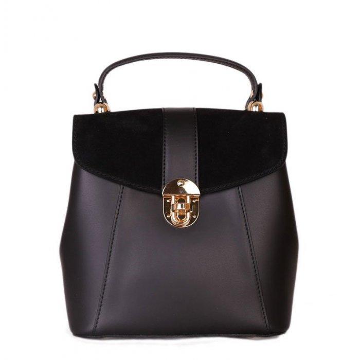 Italský kožený batoh a kabelka v jednom Terezia černý  2c2942507f