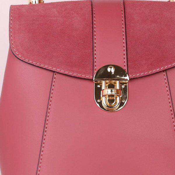 batoh a kabelka v jednom z pravé kůže terezia růžový 72e60363e0