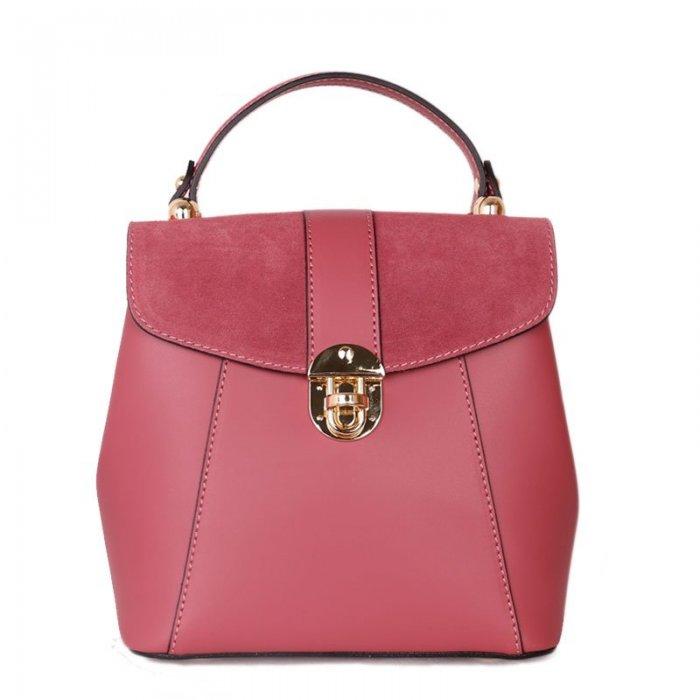 kožený batůžek a kabelka v jednom terezia růžový 6f47254213