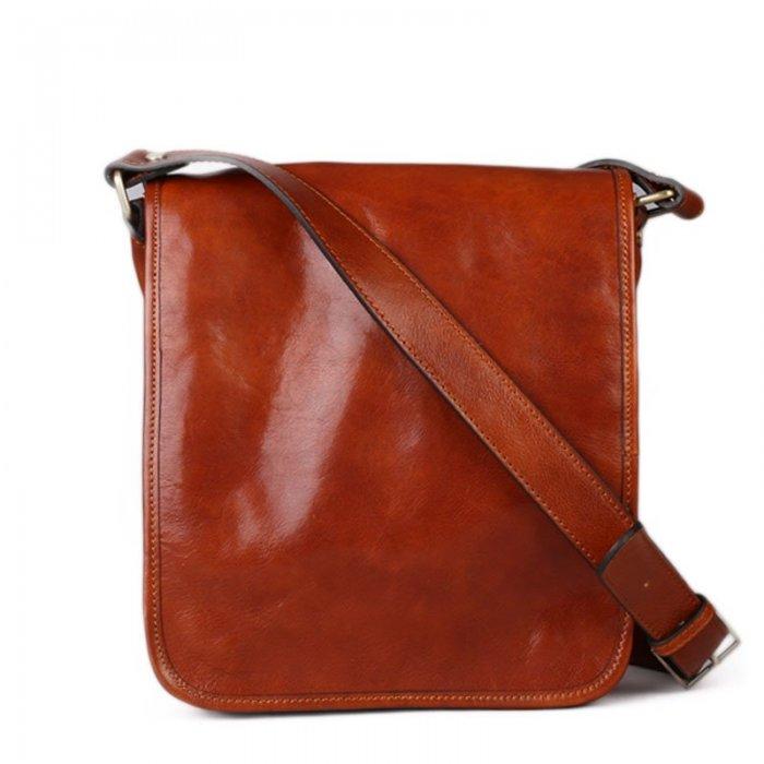 6f78cd2308 Italské hnědé kožené tašky přes rameno Vera Pelle Chulio